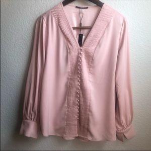 T Tahari blush silk long sleeve blouse shirt